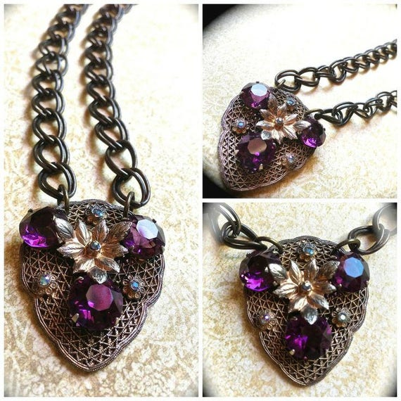 Sale Purple Rhinestone Necklace- Crystal Handmade Necklace-Art Deco Costume Jewelry