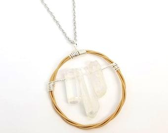 Copper Guitar String and Quartz Crystal Pendant Necklace | Recycled Guitar Strings | Crystal Necklace