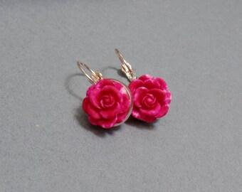 Hot Pink Rose Earrings - Rose Earrings - Flower Earrings - Spring Floral Earrings - Rose Gold Earrings - Leverback Earrings