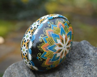 Pysanka Ukrainian Easter egg hand painted blue egg ornament with mandala starburst spiritual gift parents anniversary wedding gift couple