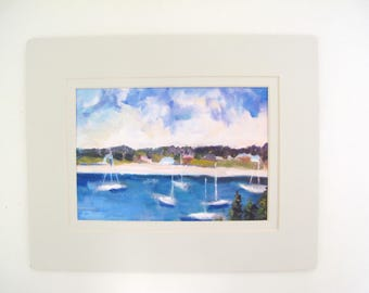 Small Matted Print of Oil Painting Of Harbor /Boats, Double Matted, To Fit 8x 10 Frame