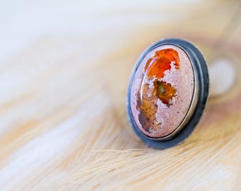 Mexican Fire Opal Ring, Boulder Opal Ring, Raw Opal Ring - Collector Stone - Keeper of Secrets - Size 6