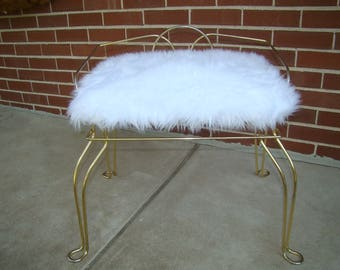 Vintage Vanity Chair with Soft White Fur