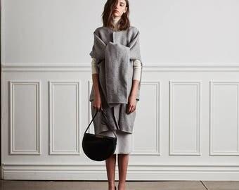 structured leather saddle bag OPELLE Meena Saddle minimalist leather half moon handbag