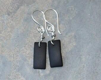 Black Earrings, Spiral Earrings, Black Sea Glass Earrings, Handmade Earrings, Dangly Earrings, Rectangular Earrings, Geometric Earrings