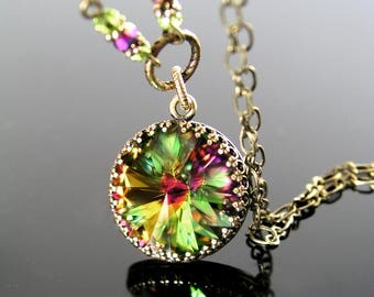 Rainbow Green Crystal Necklace, Swarovski Crystal Green Necklace Antique Brass Gold Necklace Colorful Pendant Necklace Vintage Style Jewelry