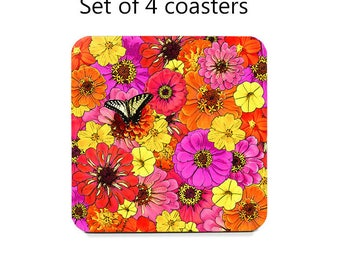 Floral coaster set, flowers drink coasters, set of 4, colorful coasters, butterfly, cork back coasters, housewarming gift, hostess gift