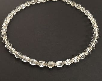 Art Deco Jewelry, Vintage Jewelry, Art Deco Choker, Simmons Necklace, Sterling Silver Crystal Choker, Clear Czech Crystal, Simmons Jewelry