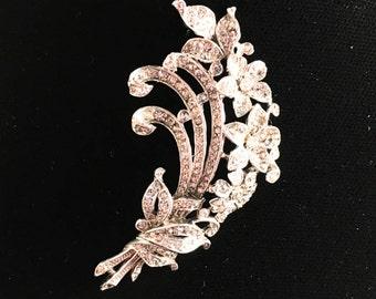 Crown Trifari Brooch, Vintage Jewelry, Trifari Jewelry, Rhinestone Brooch, Vintage Brooch, Floral Brooch, Mid Century Jewelry, Silver Tone
