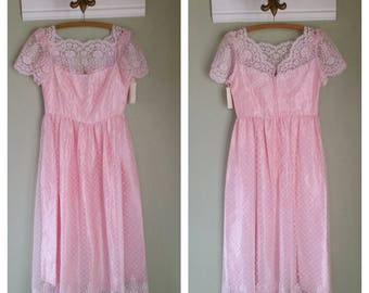 1970s Prom Dress, Lace Overlay, J.C Penney, Size Small, USA