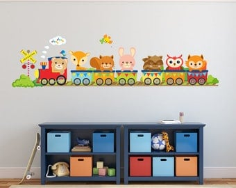 Train Wall Decal, Kids Wall Decals, Woodlands Wall Decal, REUSABLE Fabric Wall Decals for Kids, Boys Decal, A245