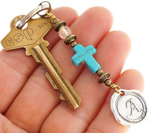 Rock Quartz Blue Turquoise Cross Keychain Favor Cross Key Chain Initial Monogram Keychain for her Custom Keychain Personalized Gift for Dad