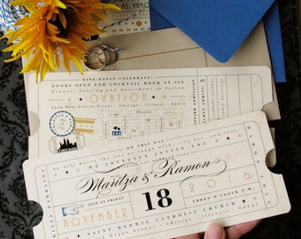 Vintage Ticket Wedding Invitation with Ticket Insert Card - 2 Tickets - for Elegant Glamorous Vintage Hollywood Movie Theater Theme Event