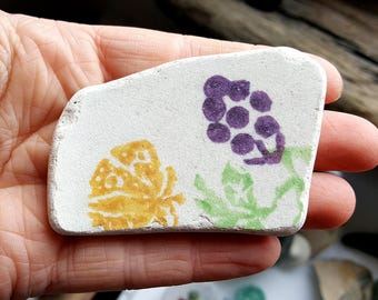 LARGE SPONGEWARE POTTERY | Yellow & Purple | Scottish Sea Pottery Shards (6230)
