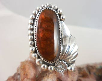 Native American Fire Agate Sterling Silver Ring