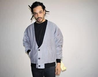 Deadstock Vintage Men's 1980s Gray Corduroy Cardigan Sweater Blazer Agapi USA-   Cardigan Sweaters  -  80s Clothing - MV00448