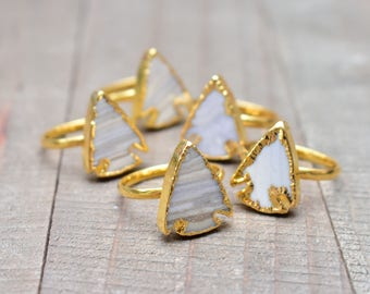 Gold Jasper Arrowhead Ring/ Size 6.5 & 6 Ring/ Natural Gemstone Gem Mineral / Statement Simple Arrowhead Arrow/ Grey Jasper Ring (RFF10)
