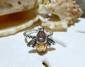 Sterling Silver 3D Bee Ring w Briolette CZ 4.52 grams