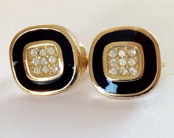 Vintage Christian Dior Black And Crystal Clip Earrings - Made In Germany
