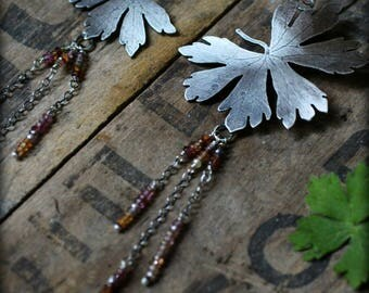 More Beautiful Than You Know - Recycled Sterling Silver Pressed Leaves, Sapphires, & Kyanite Long Earrings - Dangle, Rustic, Nature, Forest