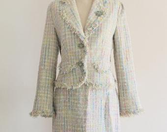 Multicolor Tweed Plaid Fringe Pastel Fantasy Elegant Jacket Skirt Suit Brooch Fall