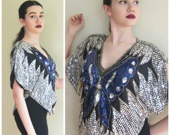 Vintage 1980s Sequined Butterfly Top / 80s Silver and Blue Evening Silk Tunic Shirt