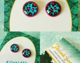 NEON LEOPARD-12 mm Hot Pink and Bright Blue Leopard in Magenta Colored Post Earrings
