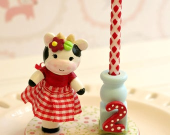 Cow Cake Topper, 1st Birthday Cake Topper Girl, Cow Finger Puppet, Baby Shower Cake Topper,Birthday Candle Cake Topper, Farm Theme Party,