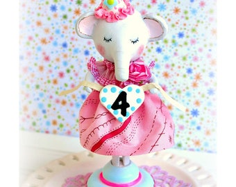 Elephant Cake Topper, Baby Elephant 2nd Birthday, Cake Topper, Little Elephant Birthday Cake Topper, 1st Birthday Girl, Elephant Baby Shower