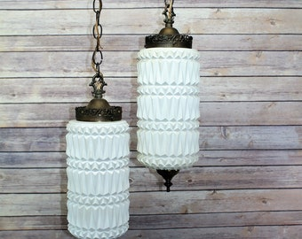 Vintage Hollywood Regency Swag Lamps, Art Deco Hanging Lamps, Mid Century Modern Ruffle Chain Lights