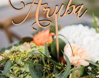 Custom Table Number Words on Sticks, Tall Wooden Words for Table Numbers, Personalized Wedding Decor Centerpieces (Item - CSN250)