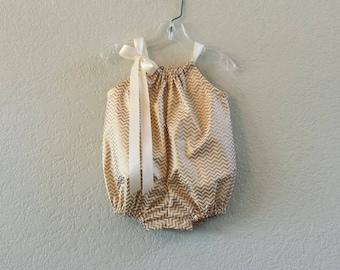 New! Baby Girls Gold Chevron Stripe Bubble Romper - Gold and Cream Chevron Stripes - Toddler Gold Sun Suit - Size Nb, 3m, 6m, 9m, 12m or 18m