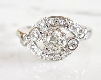 CLEARANCE SALE Antique Diamond Ring, Vintage Diamond Engagement Ring, Low Diamond Ring, Round Diamond Ring, Conflict Free Diamond Ring