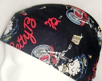 Betty Boop on a Motorcycle Skull Cap, Chemo Cap, Surgical Cap, Helmet Liner, Hair Loss, Hat,Do Rag, Head Wrap, Handmade, Alopecia, Hair Loss