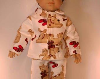 Flannel puppy print boy doll pajamas fits 18 inch dolls like American girl or boy