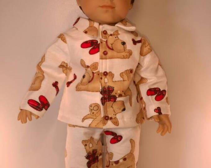 Flannel puppy print doll pajamas fits 18 inch dolls l girl or boy