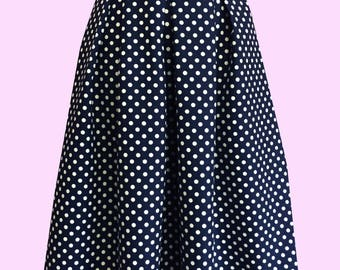 Julie Pleast skirt in Navy with white spot