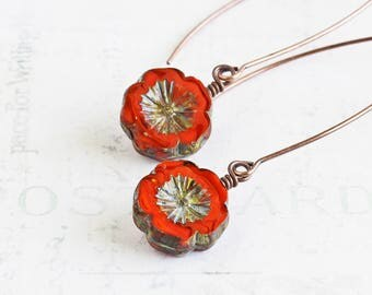 Rustic Orange Earrings, Lava Orange Flower Earrings on Antiqued Copper Plated Wires, Long Dangle Earrings, Autumn Jewelry