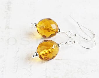 Amber Yellow Earrings, Topaz Yellow Faceted Glass Dangle Earrings on Silver Plated Hooks, Autumn Jewelry