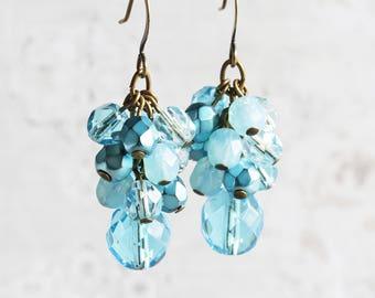 Turquoise Blue Earrings, Light Blue Dangle Earrings on Antiqued Brass Hooks, Cluster Earrings, Blue Wedding Jewelry