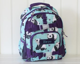 Small Size Pottery Barn Backpack With Monogram -- Aqua Panda