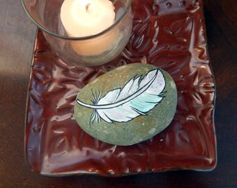 Hand Painted WHITE FEATHER Beach Stone Rock Paintings Feather ART Angel Guides Wispy Feathers Gifts for her Lotus and Nightshade