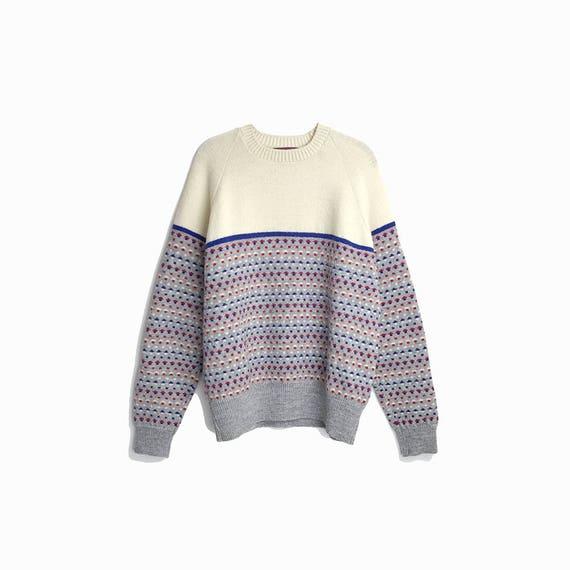 Vintage 1970s Men's Ski Sweater in Gray & Cream Birdseye Dot / Wool Sweater - size large/xl