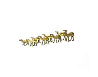 A Herd of Vintage Brass Camels / Set of 8