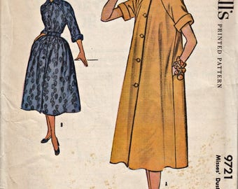 1950's Duster Dress Pattern  McCALL's 9721  1954 Vintage Sewing Pattern  Raglan Sleeve Duster Dress  UNCUT, Factory-Folded  Bust 30