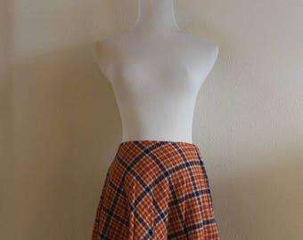 Vintage 70's Plaid Wool Skirt
