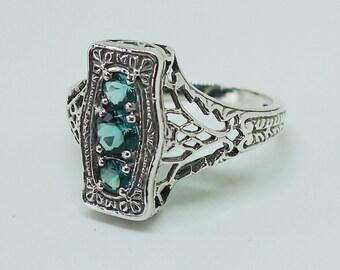3 Carat Aquamarine and Sterling Silver Antique Style Ring Size 7, Victorian Edwardian Art Nouveau Art Deco Bohemian Bridal Engagement March