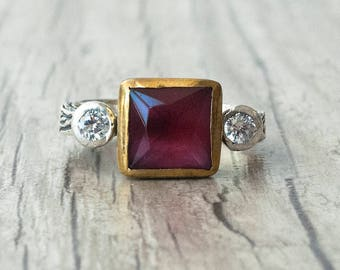 Square Ruby Ring, Ruby Engagement Ring, Silver and Gold Red Ruby and CZ Ring, Promise Ring, Red Stone Ring, Ruby Jewelry July Birthstone