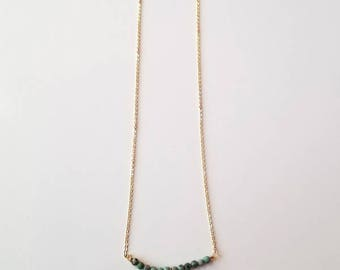 African Turquoise & Brass Cut Out Tassel Necklace