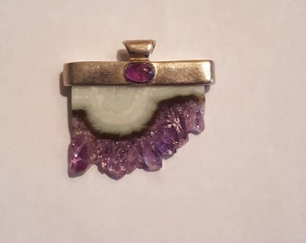 Amethyst and Agate in Sterling Silver Pendant